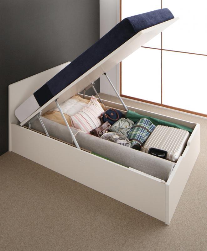 送料無料 お客様組立 跳ね上げベッド セミダブル Mulante ムランテ ゼルトスプリングマットレス付き 深さレギュラー 日本製 収納ベッド 跳ね上げ式ベッド マット付き マットレスセット セミダブルベッド
