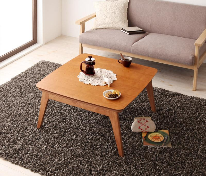 送料無料 天然木チェリー材 北欧デザインこたつテーブル Milkki ミルッキ 正方形(75×75) リビングテーブル コタツテーブル 炬燵テーブル 040600160
