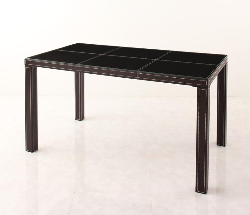 送料無料 イタリアンモダンデザイン クロスステッチレザーガラスダイニング VALLONE ヴァローネ テーブル単品(幅135) ダイニングテーブル 食卓テーブル 040605256