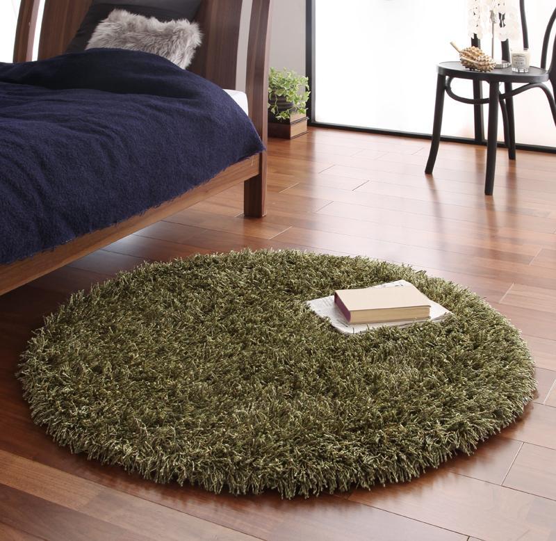 送料無料 ロングパイルシャギーラグ Premina プレミナ 直径100cm(円形) 絨毯 マット 丸型ラグ カーペット 040701226