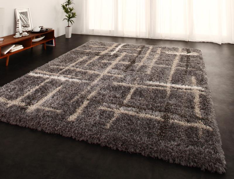 送料無料 モダンデザインウィルトン織りボリュームシャギーラグ CROSSE クロッセ 200×250cm 絨毯 マット カーペット 040701909