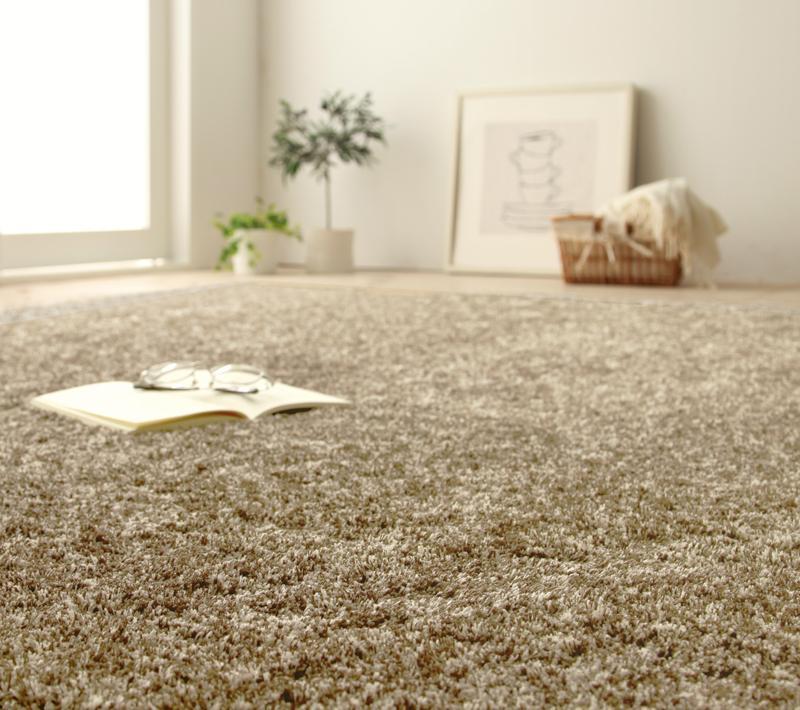 送料無料 アースカラーミックスボリュームシャギーラグ Mare マーレ 200×200cm 絨毯 マット カーペット 040701937