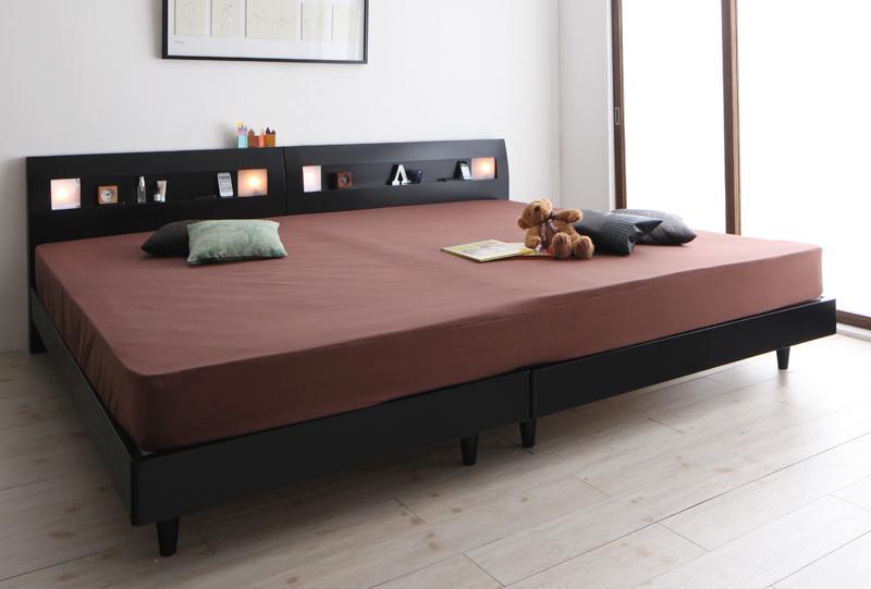 送料無料 すのこベッド ワイドK200 ローベッド アルテリア スタンダードポケットコイルマットレス付き ヘッドライト付き ウォールナット ブラック マット付き 親子ベッド 連結ベッド 500021656