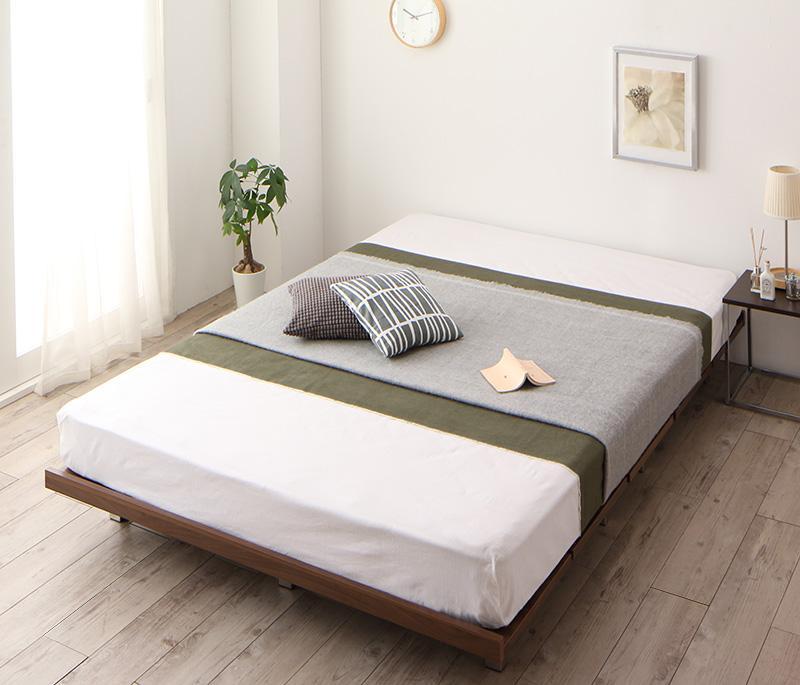 【送料無料】 すのこベッド 頑丈なベッド RinForza リンフォルツァプレミアムボンネルコイルマットレス付き フルレイアウト マットレス:セミダブル フレーム幅120 ローベッド ウォールナット