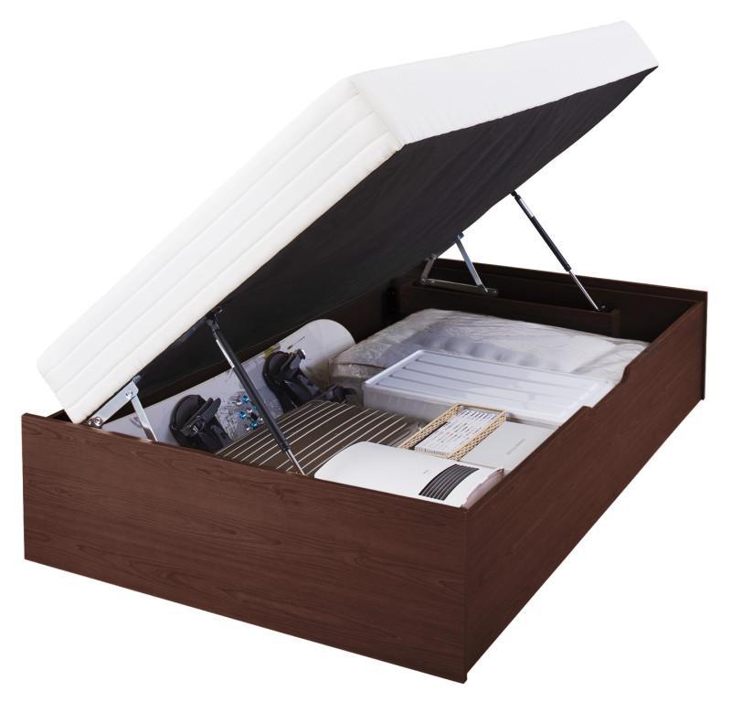 【送料無料】 跳ね上げ式ベッド マットレス一体型ベッド L-Prix エルプリックス ポケットコイルマットレスタイプ 横開き セミシングル ラージ 跳ね上げベッド 収納ベッド セミシングルベッド マット付き 収納付きベッド 500022413