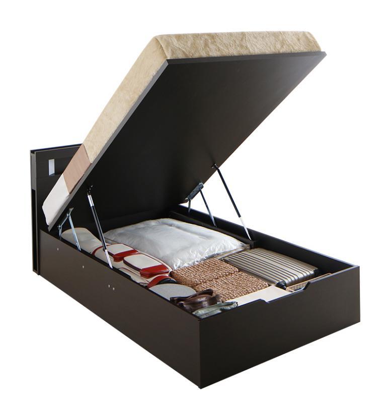 【送料無料】 ライト コンセント付き ガス圧 大容量 跳ね上げベッド シングル ルナライト 薄型ポケットコイル付き 縦開き グランド 収納ベッド シングルベッド マット付き 収納付きベッド 500022696