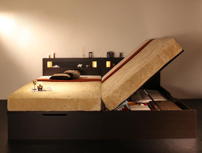 【送料無料】 ライト コンセント付き ガス圧 大容量 跳ね上げベッド シングル ルナライト 薄型ボンネルコイル付き 横開き ラージ 収納ベッド シングルベッド マット付き 収納付きベッド 500022738