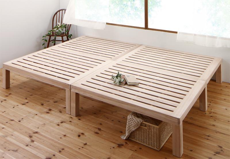 送料無料 総桐すのこベッド Kirimuku キリムク クイーン(SS×2) パネルベッド ヘッドレス 木製ベッド クイーンサイズ 500024501