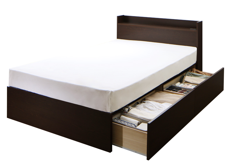 送料無料 収納ベッド [お客様組立 Aタイプ シングル(床板仕様)] 連結ベッド Ernesti エルネスティ スタンダードポケットコイルマットレス付き 棚付き コンセント付き 引き出し収納 シングルベッド