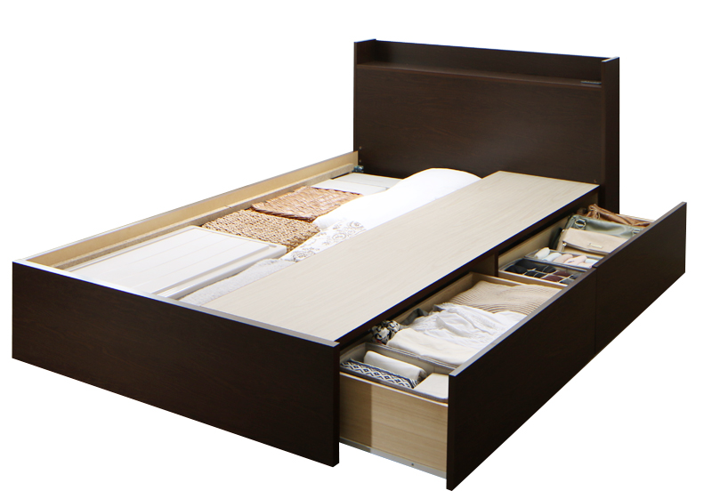 送料無料 収納ベッド 【組立設置付 Aタイプ シングル(床板仕様)】 連結ベッド Ernesti エルネスティ ベッドフレームのみ 棚付き コンセント付き 引き出し収納 シングルベッド