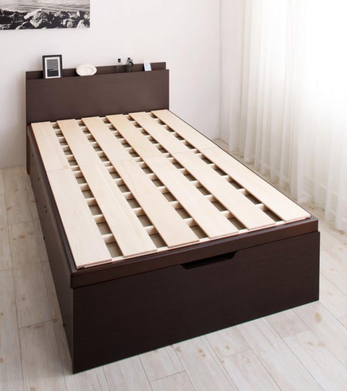 送料無料 跳ね上げ式ベッド セミシングル お客様組立 日本製 頑丈 跳ね上げベッド BERG ベルグ ベッドフレームのみ 縦開き 深さグランド 収納ベッド ガス圧 ダークブラウン ホワイト セミシングルベッド