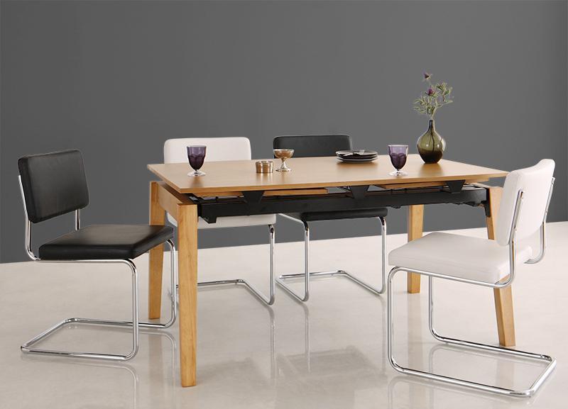 送料無料 デザイナーズテイスト 北欧モダンダイニングセット CHESCA チェスカ 5点セット(テーブル+チェア4脚) W140-240 食卓セット テーブルチェアセット ダイニングテーブルセット 500026745