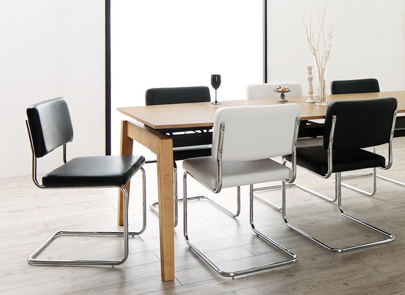 送料無料 デザイナーズテイスト 北欧モダンダイニングセット CHESCA チェスカ 7点セット(テーブル+チェア6脚) W140-240 食卓セット テーブルチェアセット ダイニングテーブルセット 500026746