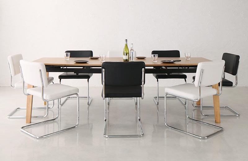 送料無料 デザイナーズテイスト 北欧モダンダイニングセット CHESCA チェスカ 9点セット(テーブル+チェア8脚) W140-240 食卓セット テーブルチェアセット ダイニングテーブルセット 500026747
