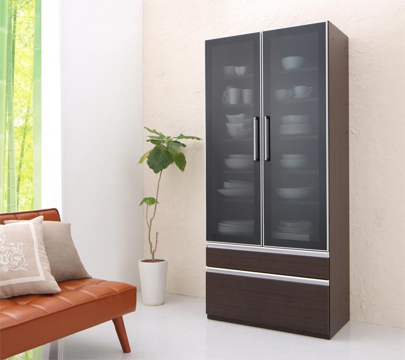 【送料無料】 完成品 キッチン収納 Aina アイナ 食器棚 幅80 単品 キッチンボード 幅80 奥行45 高さ180 ガラス扉 引き出し収納付き