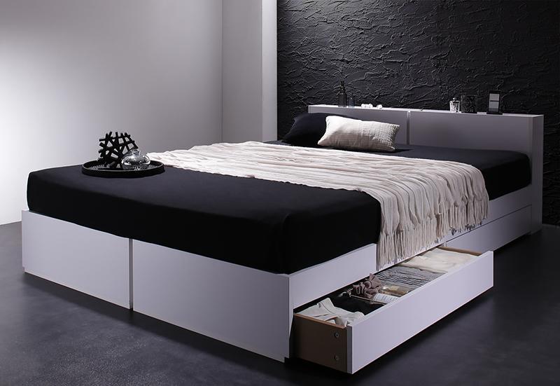 【送料無料】 棚付き コンセント付き 収納ベッド Oslo オスロ 国産カバーポケットコイルマットレス付き シングルベッド 引き出し収納 マットレス付き ブラック ホワイト 大容量収納付きベッド