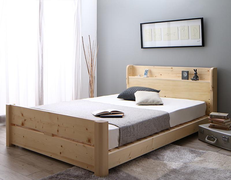 【送料無料】高さ調節可能 頑丈すのこベッド ishuruto イシュルト 薄型軽量ポケットコイルマットレス付き セミダブル  棚付き 天然木すのこ