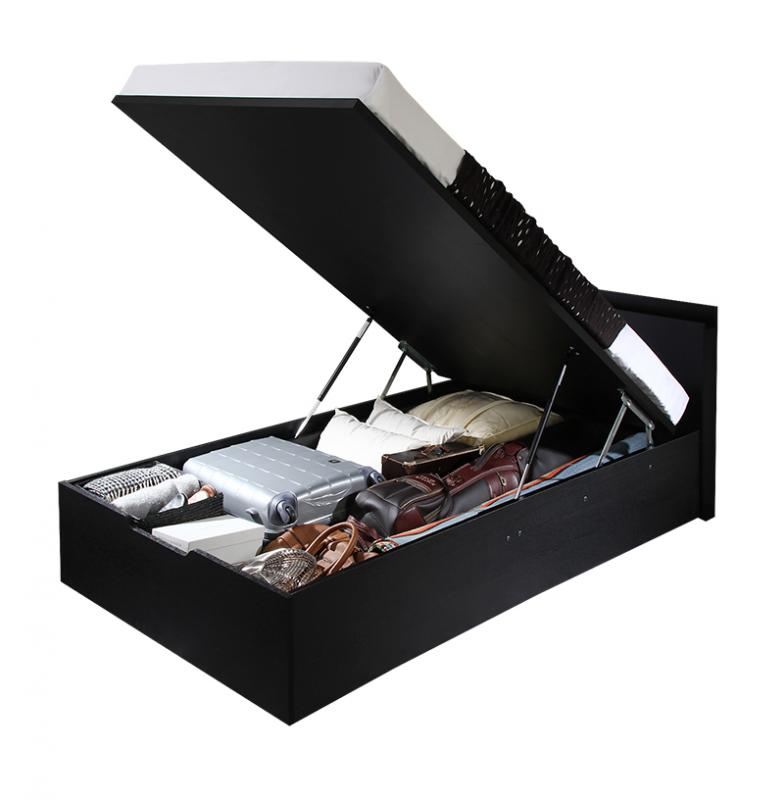 【送料無料】[お客様組立] 大容量収納 跳ね上げベッド Fermer フェルマー 薄型スタンダードボンネルコイルマットレス付き 縦開き セミダブル 深さラージ  棚付き コンセント付き ブラック ホワイト 跳ね上げ式ベッド ガス圧 収納ベッド