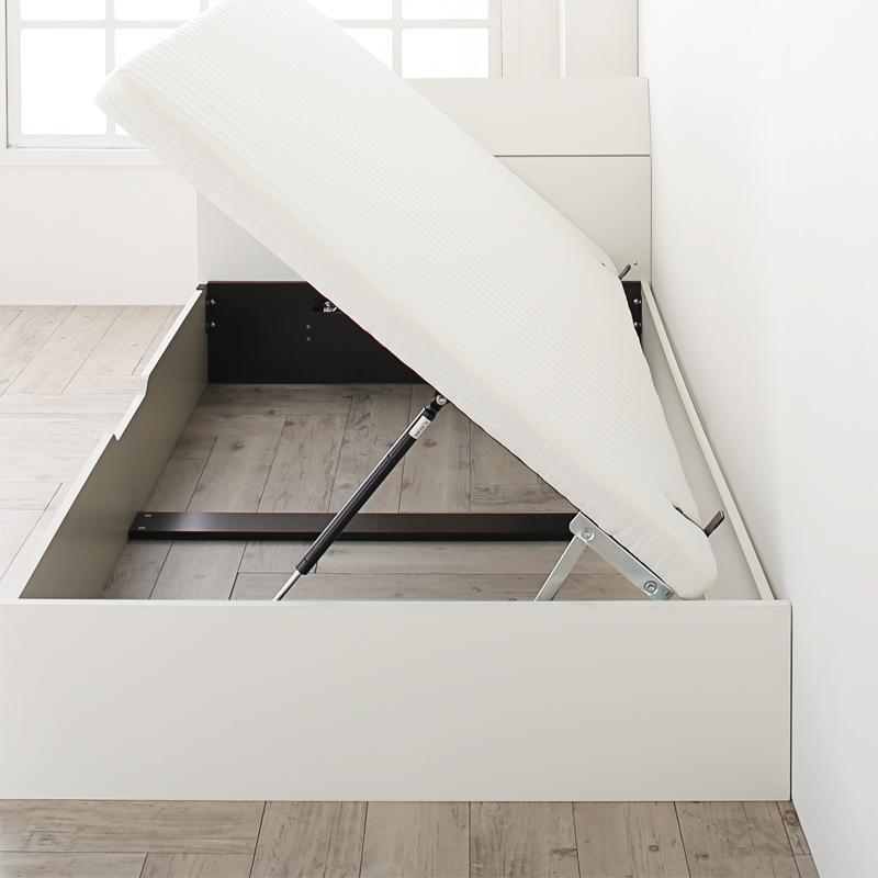 【送料無料】[お客様組立] フラットヘッド 跳ね上げベッド WEISEL ヴァイゼル ベッドフレームのみ 横開き セミダブル 深さレギュラー  ホワイト 跳ね上げ式ベッド ガス圧 コンパクト 収納ベッド