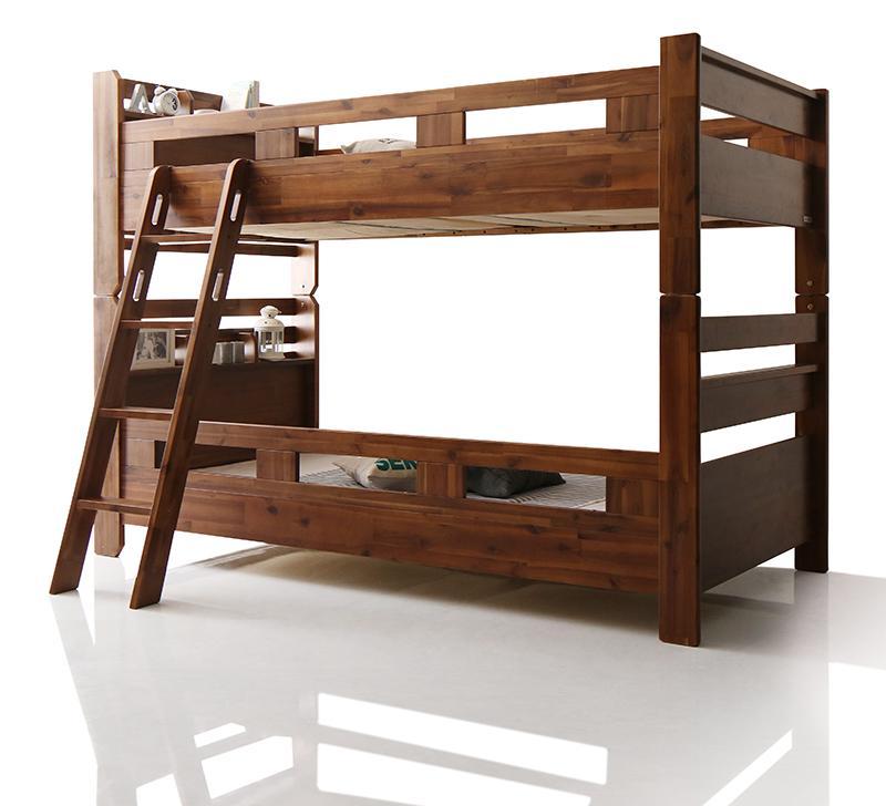 【送料無料】棚付き コンセント付き アカシア材 2段ベッド Redondo レドンド ベッドフレームのみ  二段ベッド 木製 分割可能 宮付き シングルベッド 子供部屋 子供用ベッド