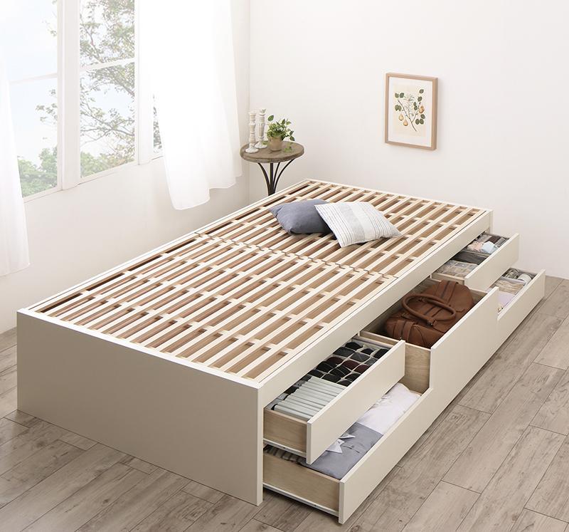 【送料無料】 [お客様組立] 国産 ヘッドレス収納ベッド Renitsa レニツァ ベッドフレームのみ セミシングル 引き出し収納 すのこベッド チェストベッド 国産 すのこ 大容量収納付きベッド