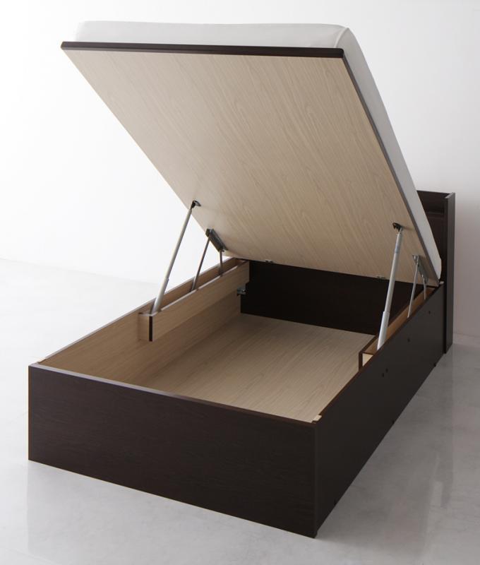 送料無料 跳ね上げベッド シングル お客様組立 Freeda フリーダ 薄型スタンダードポケットコイルマットレス付き 縦開き 深さグランド 収納ベッド マット付き 跳ね上げ式ベッド シングルベッド