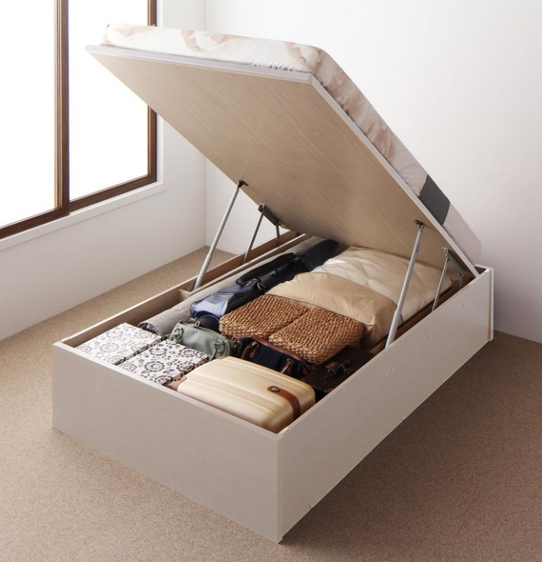 送料無料 跳ね上げ式ベッド セミダブル お客様組立 日本製 跳ね上げベッド Regless リグレス 薄型スタンダードボンネルコイルマットレス付き 縦開き 深さグランド 収納ベッド ガス圧 ヘッドレス セミダブルベッド