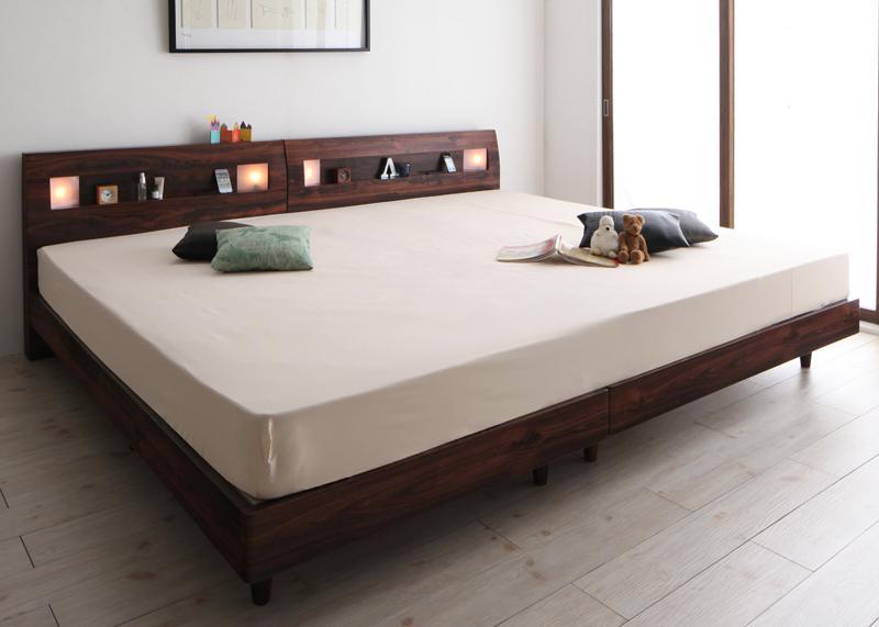 送料無料 すのこベッド ワイドK280 ローベッド アルテリア プレミアムボンネルコイルマットレス付き ヘッドライト付き ウォールナット ブラック マット付き 親子ベッド 連結ベッド