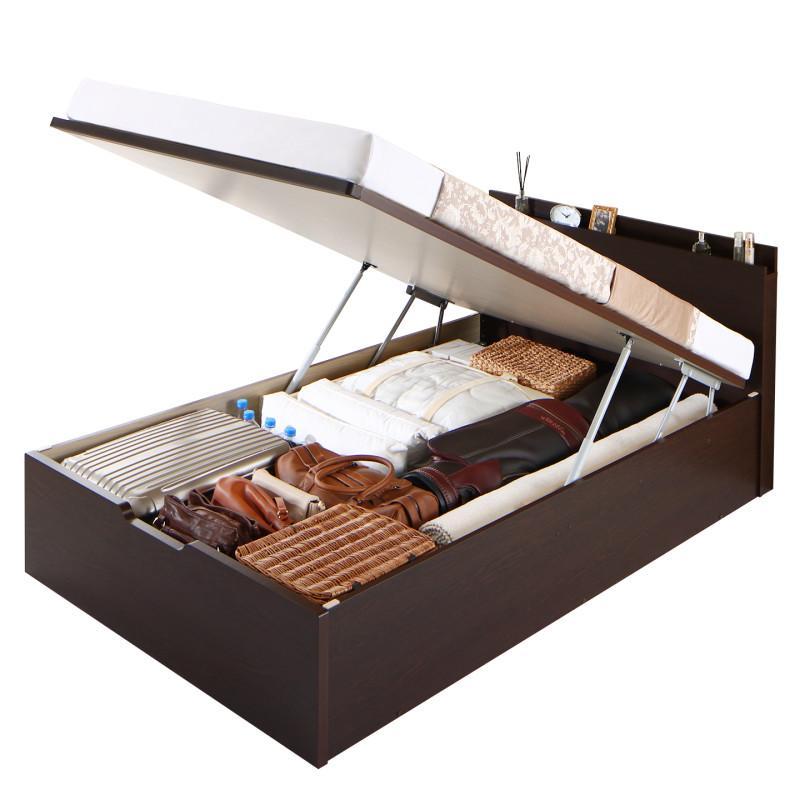 送料無料 跳ね上げ式ベッド セミシングル お客様組立 日本製 跳ね上げベッド Renati-DB レナーチ ダークブラウン 薄型スタンダードポケットコイルマットレス付き 縦開き 深さラージ 収納ベッド ガス圧 セミシングルベッド