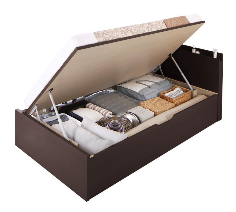 送料無料 跳ね上げ式ベッド セミシングル お客様組立 日本製 跳ね上げベッド Renati-DB レナーチ ダークブラウン 薄型スタンダードポケットコイルマットレス付き 横開き 深さグランド 収納ベッド ガス圧 セミシングルベッド