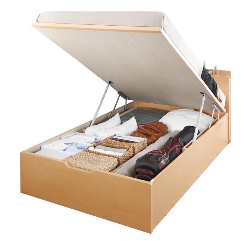 送料無料 跳ね上げ式ベッド セミシングル お客様組立 日本製 跳ね上げベッド Renati-NA レナーチ ナチュラル 薄型プレミアムボンネルコイルマットレス付き 縦開き 深さグランド 収納ベッド ガス圧 セミシングルベッド