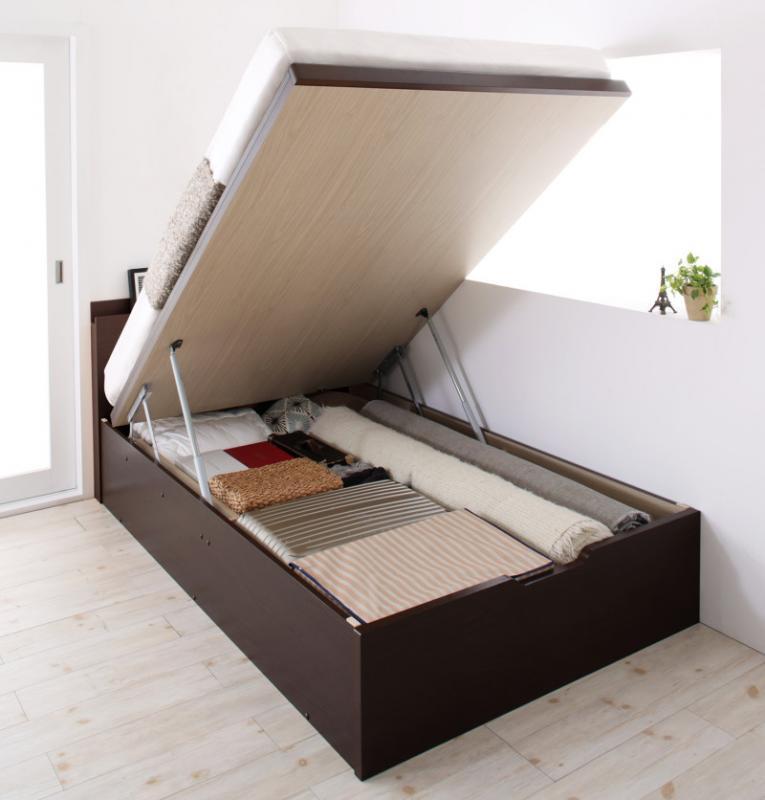 送料無料 跳ね上げ式ベッド シングル お客様組立 日本製 頑丈 跳ね上げベッド BERG ベルグ 薄型プレミアムボンネルコイルマットレス付き 縦開き 深さレギュラー 収納ベッド ガス圧 ダークブラウン ホワイト シングルベッド