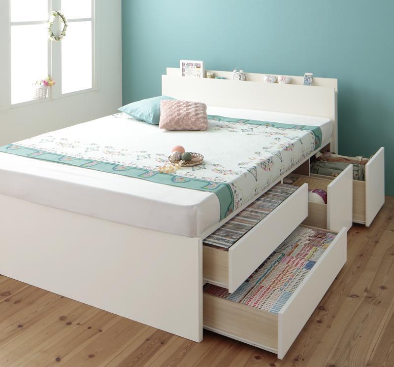 【送料無料】 大容量収納ベッド シングル お客様組立 チェストベッド Auxilium アクシリム 薄型プレミアムボンネルコイルマットレス付き 引出し収納 ベッド下収納 日本製 マット付き シングルベッド マットレス付き