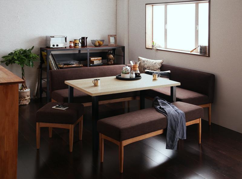 送料無料 モダンカフェ風リビングダイニングセット BARIST バリスト 5点セット 食卓セット テーブルソファセット ダイニングテーブルセット 040600824