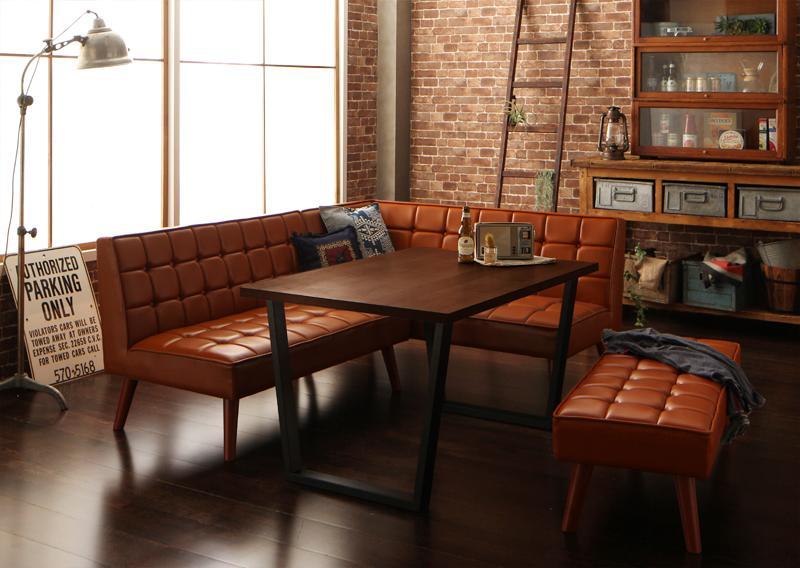 送料無料 アメリカンヴィンテージ リビングダイニングセット Monica モニカ 4点ベンチセット(幅120) 食卓セット テーブルソファセット ダイニングテーブルセット 040601501