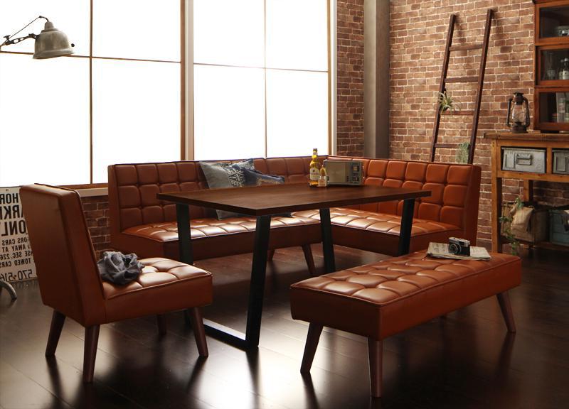 送料無料 アメリカンヴィンテージ リビングダイニングセット Monica モニカ 5点チェア・ベンチセット(幅120) 食卓セット テーブルソファセット ダイニングテーブルセット 040601505
