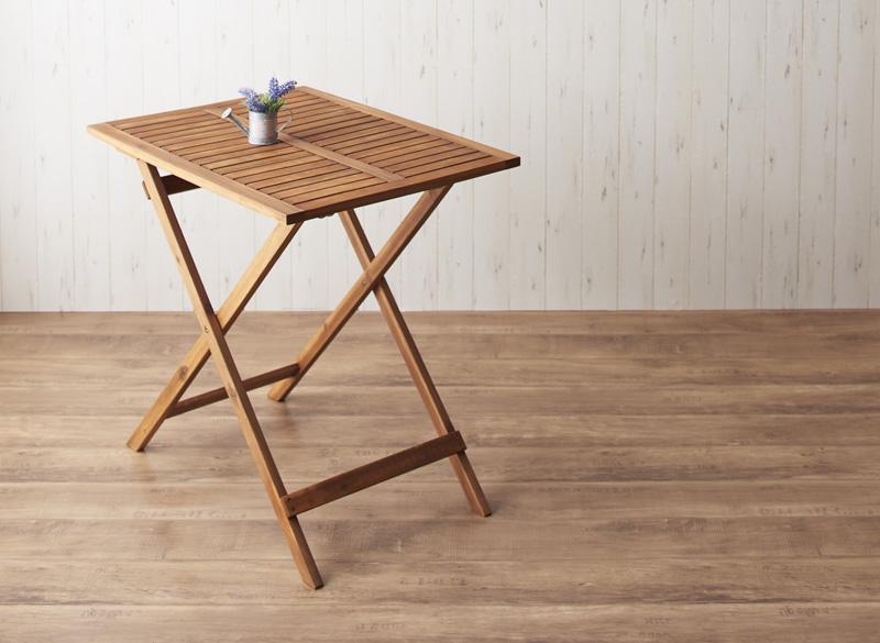 送料無料 アカシア天然木スリムダイニングガーデンファニチャー Cyrielle シリエル テーブル スリムタイプ W55 ガーデンテーブル ベランダテーブル リビングガーデン 500024527