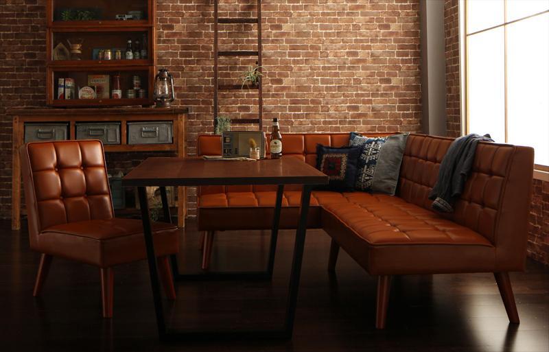 送料無料 アメリカンヴィンテージ リビングダイニングセット Monica モニカ 4点セット(テーブル+ソファ1脚+アームソファ1脚+チェア1脚) 左アーム W120 食卓セット テーブルソファセット ダイニングテーブルセット 500027748