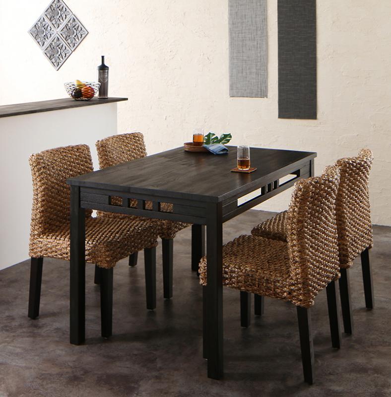 送料無料 アジアンモダンダイニングセット Aperm アパーム 5点セット(テーブル+チェア4脚) W120 食卓セット テーブルチェアセット ダイニングテーブルセット 500028084