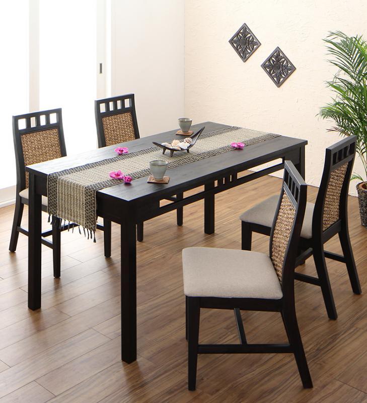 送料無料 アジアンモダンダイニングセット Kubera クベーラ 5点セット(テーブル+チェア4脚) W150 食卓セット テーブルチェアセット ダイニングテーブルセット 500028092