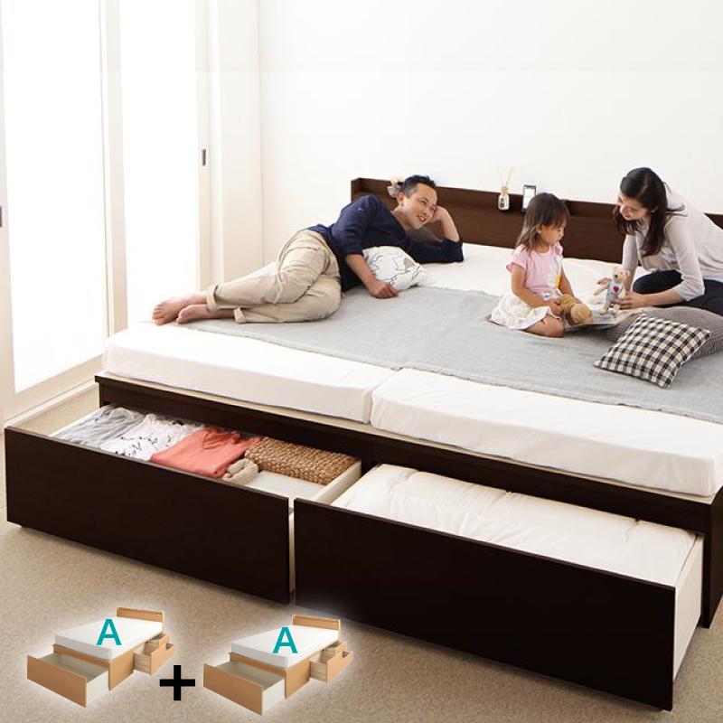 送料無料 大容量収納ベッド 親子ベッド TRACT トラクトシリーズ 【お客様組立】[A+A 鍵・ガード付き ワイドK200] 薄型プレミアムポケットコイルマットレス付き 日本製 収納付きベッド 連結ベッド