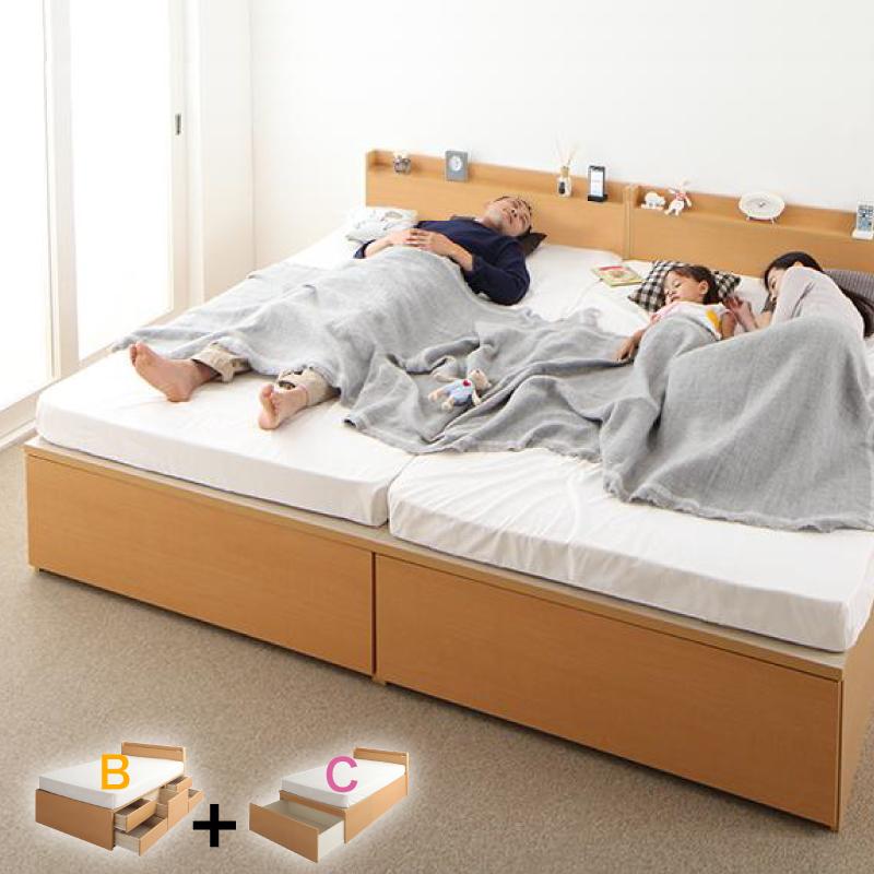 送料無料 大容量収納ベッド 親子ベッド TRACT トラクトシリーズ 【お客様組立】[B+C 鍵・ガード付き ワイドK200] 薄型プレミアムポケットコイルマットレス付き 日本製 収納付きベッド 連結ベッド