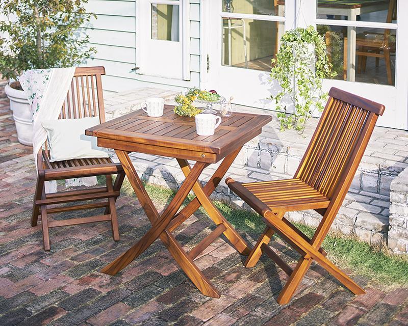 送料無料 チーク天然木 折りたたみ式本格派リビングガーデンファニチャー fawn フォーン 3点セットB(テーブルA+チェアB) ダイニングテーブル ダイニングチェア ガーデンテーブル 040601190