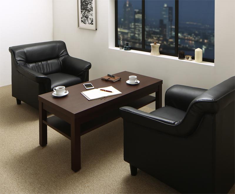 【送料無料】 重厚デザイン応接家具シリーズ Office Road オフィスロード ソファ2点&テーブル 3点セット 1P×2 来客ソファ オフィス家具 応接セット