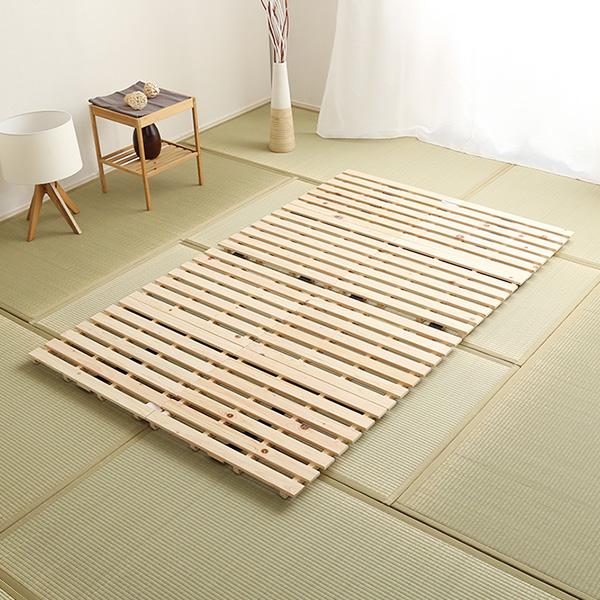 すのこベッド 折りたたみ セミダブル 二つ折り式 檜仕様【涼風】 折り畳み すのこ 二つ折り 敷き布団カビ対策 フローリング直敷き