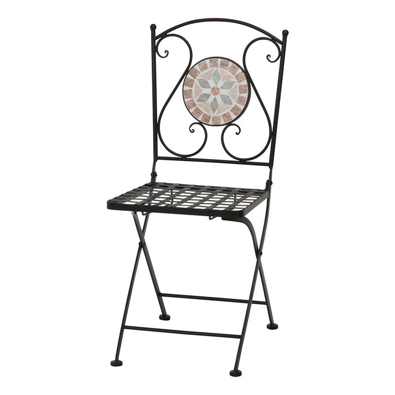 送料無料 2脚セット モザイクチェアー 花柄 椅子 チェア チェアー 折りたたみ 折り畳み ガーデンチェアー おしゃれ かわいい