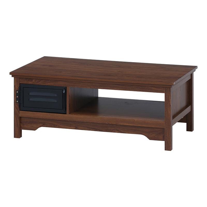 送料無料 リビングテーブル ローテーブル センターテーブル 幅100cm 収納付き 木製 作業台 カフェテーブル 机 テーブル 西海岸 ブルックリン 男前インテリア おしゃれ
