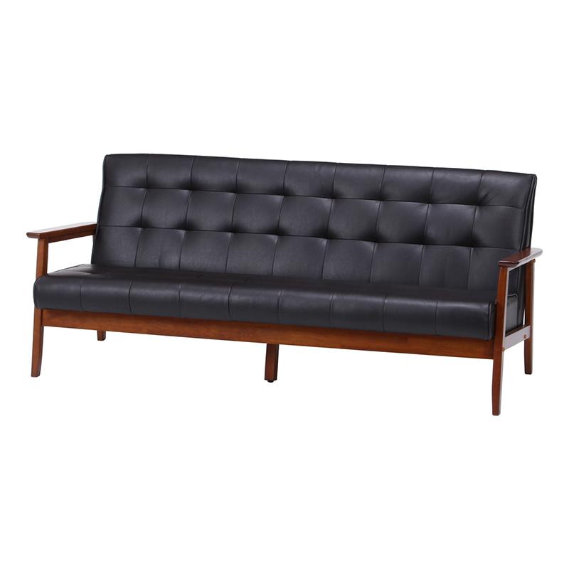送料無料 バイキャストPUソファー フレンズ 木製 ソファー 幅170cm 3人掛け 3人掛け 肘付き リビングソファー 西海岸 シンプル 北欧 おしゃれ かわいい ダークブラウン