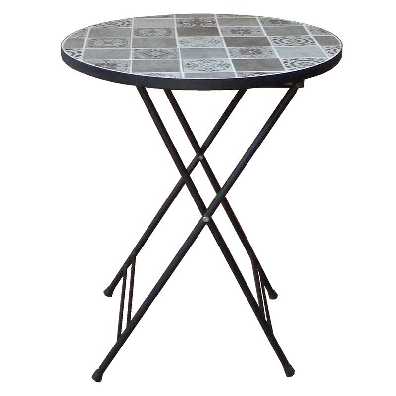 送料無料 モザイクテーブル 幅60cm ガーデンテーブル ラウンドテーブル 丸型 円形 カフェテーブル ベランダ テラス デッキ シンプル 北欧 おしゃれ かわいい