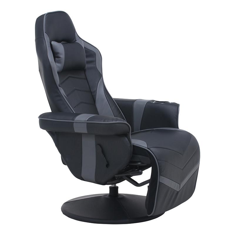 送料無料 ゲーミングパーソナルチェア ゲーミングチェア リクライニングチェア オフィスチェアー デスクチェアー イス 椅子 ゲーム用チェアー 一人掛け リラックスチェア シンプル モダン おしゃれ ブラック